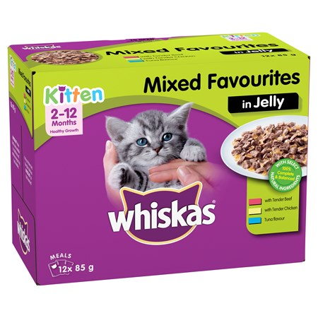 Whiskas Australia Whiskas Kitten Wet Cat Food With Mixed Favourites In Jelly 12x85g Pouches