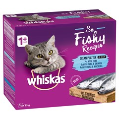 <p><span>WHISKAS<sup>®</sup></span><br />So Fishy Recipes</p>